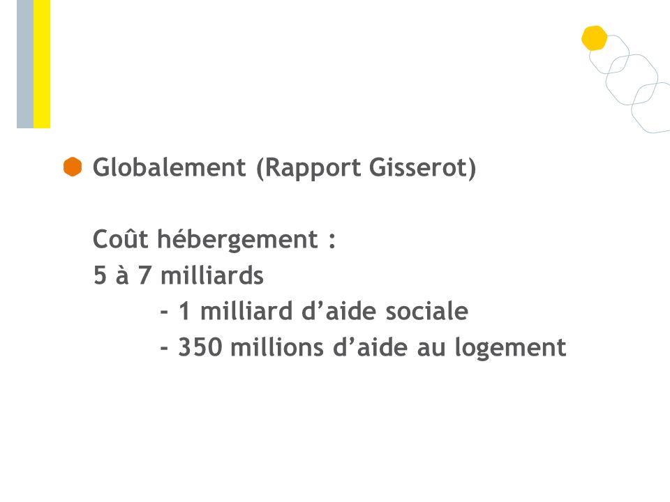 Globalement (Rapport Gisserot) Coût hébergement : 5 à 7 milliards - 1 milliard daide sociale - 350 millions daide au logement