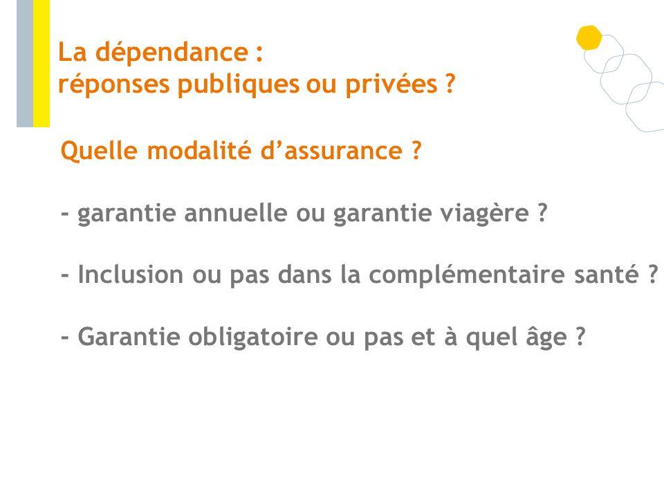 Quelle modalité dassurance ? - garantie annuelle ou garantie viagère ? - Inclusion ou pas dans la complémentaire santé ? - Garantie obligatoire ou pas