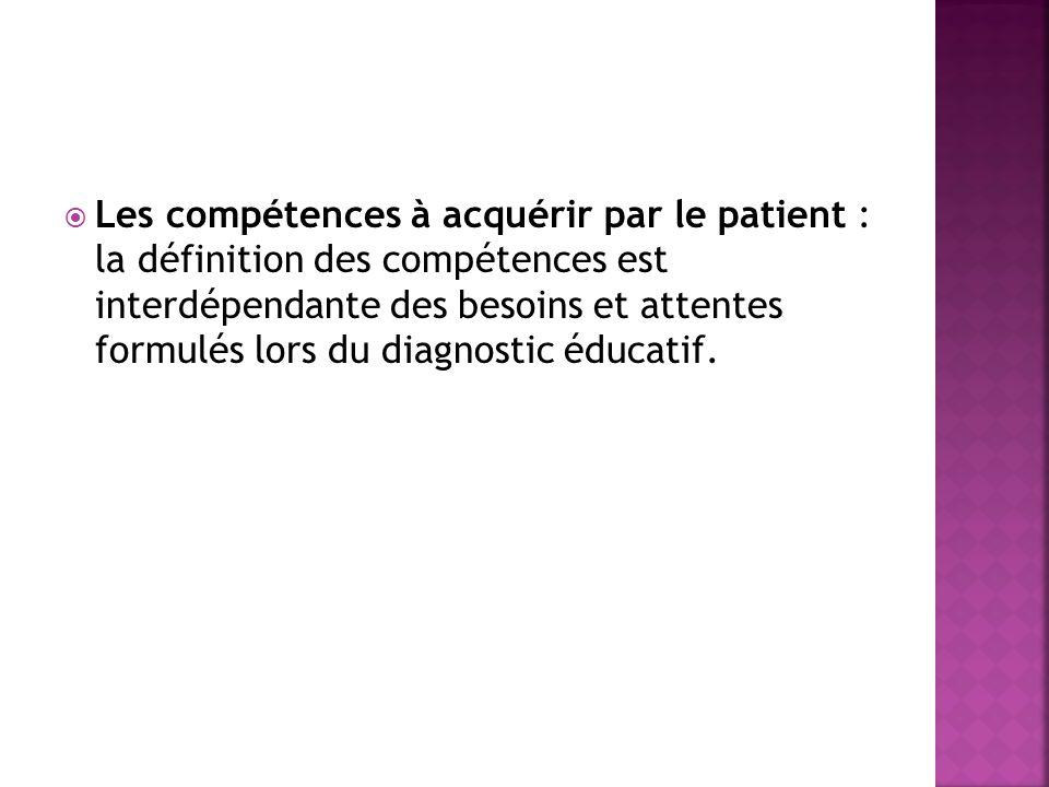 Les compétences à acquérir par le patient : la définition des compétences est interdépendante des besoins et attentes formulés lors du diagnostic éduc