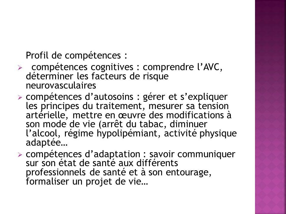 Profil de compétences : compétences cognitives : comprendre lAVC, déterminer les facteurs de risque neurovasculaires compétences dautosoins : gérer et