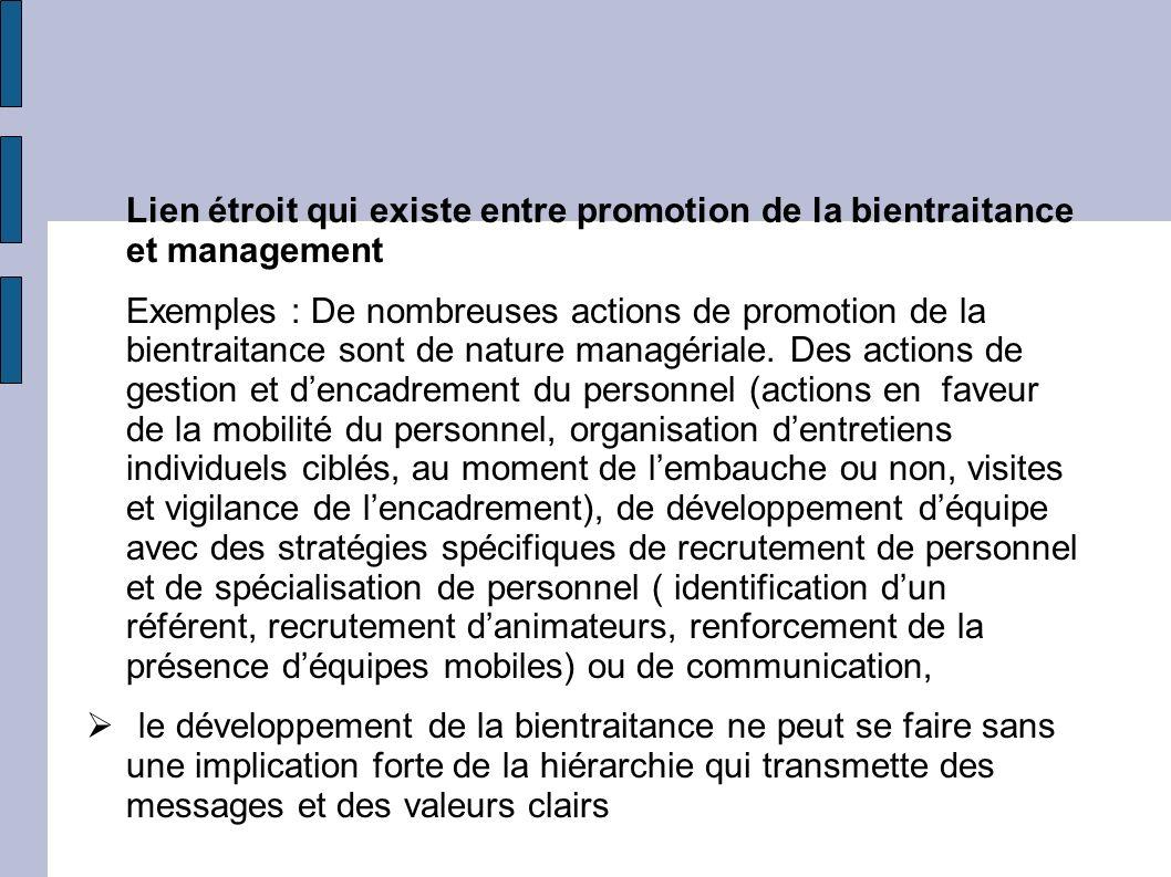 Lien étroit qui existe entre promotion de la bientraitance et management Exemples : De nombreuses actions de promotion de la bientraitance sont de nat