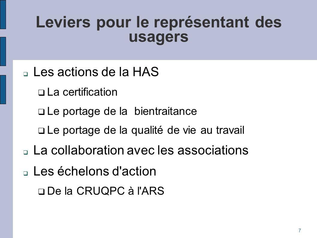Leviers pour le représentant des usagers Les actions de la HAS La certification Le portage de la bientraitance Le portage de la qualité de vie au trav