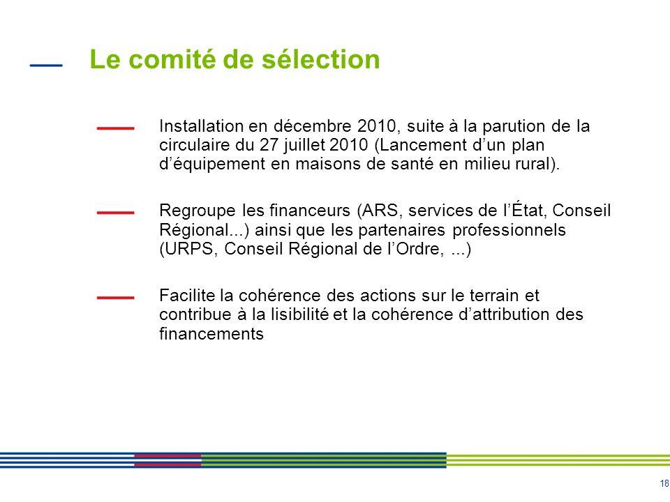 18 Le comité de sélection Installation en décembre 2010, suite à la parution de la circulaire du 27 juillet 2010 (Lancement dun plan déquipement en ma