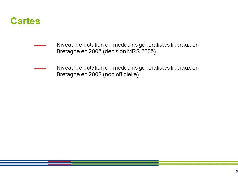 9 Cartes Niveau de dotation en médecins généralistes libéraux en Bretagne en 2005 (décision MRS 2005) Niveau de dotation en médecins généralistes libé