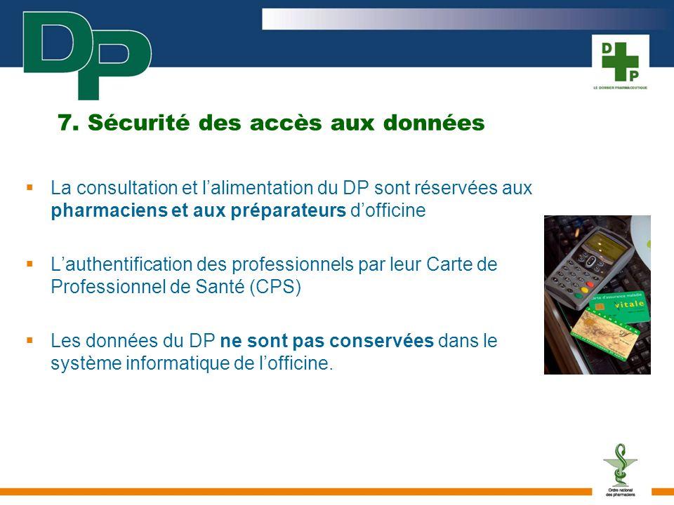 7. Sécurité des accès aux données La consultation et lalimentation du DP sont réservées aux pharmaciens et aux préparateurs dofficine Lauthentificatio