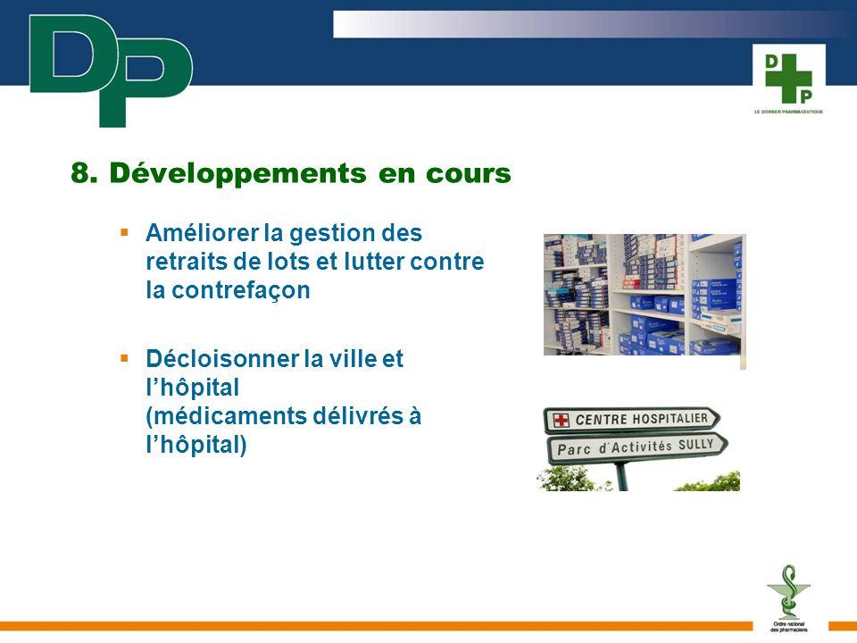 8. Développements en cours Améliorer la gestion des retraits de lots et lutter contre la contrefaçon Décloisonner la ville et lhôpital (médicaments dé