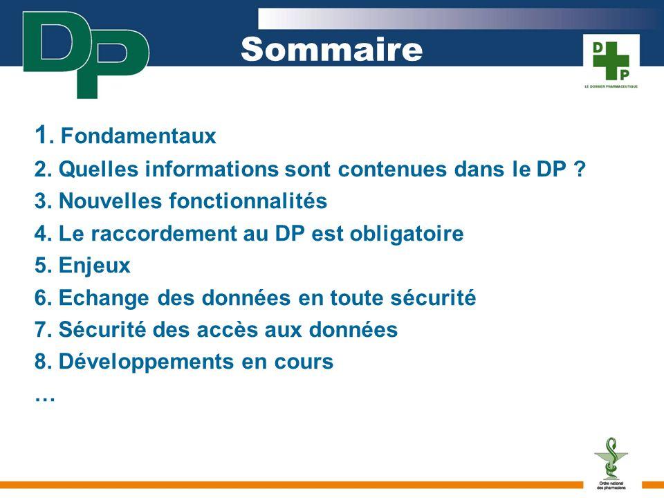 Sommaire 1.Fondamentaux 2. Quelles informations sont contenues dans le DP .
