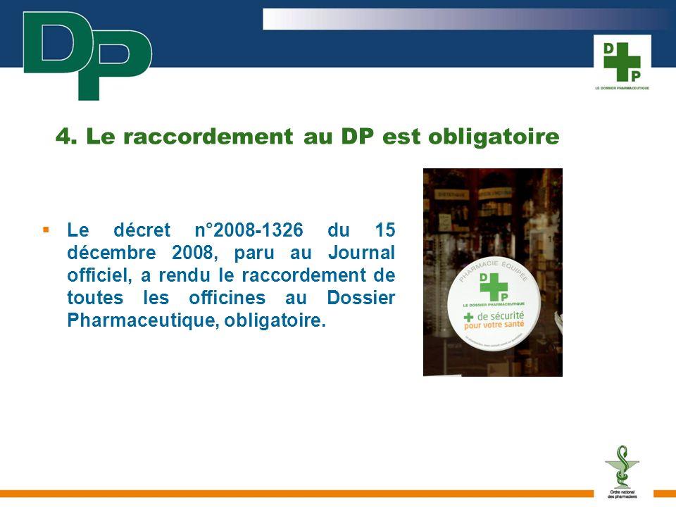 4. Le raccordement au DP est obligatoire Le décret n°2008-1326 du 15 décembre 2008, paru au Journal officiel, a rendu le raccordement de toutes les of