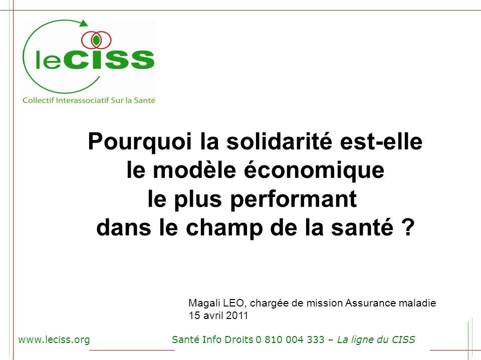 www.leciss.orgSanté Info Droits 0 810 004 333 – La ligne du CISS Magali LEO, chargée de mission Assurance maladie 15 avril 2011 Pourquoi la solidarité
