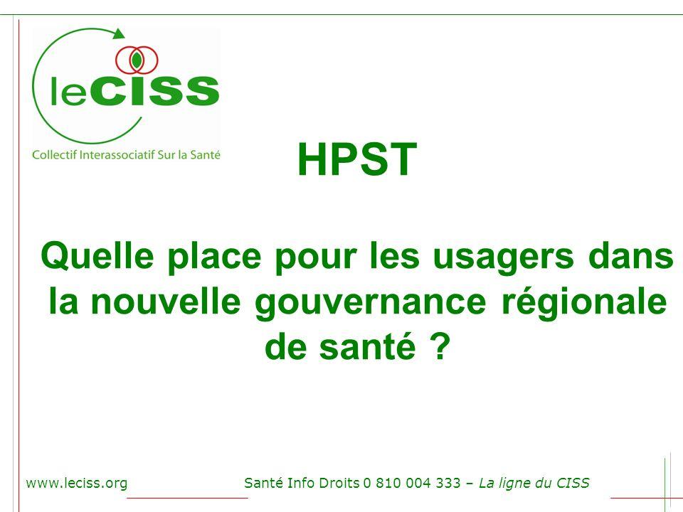 www.leciss.orgSanté Info Droits 0 810 004 333 – La ligne du CISS HPST Quelle place pour les usagers dans la nouvelle gouvernance régionale de santé ?