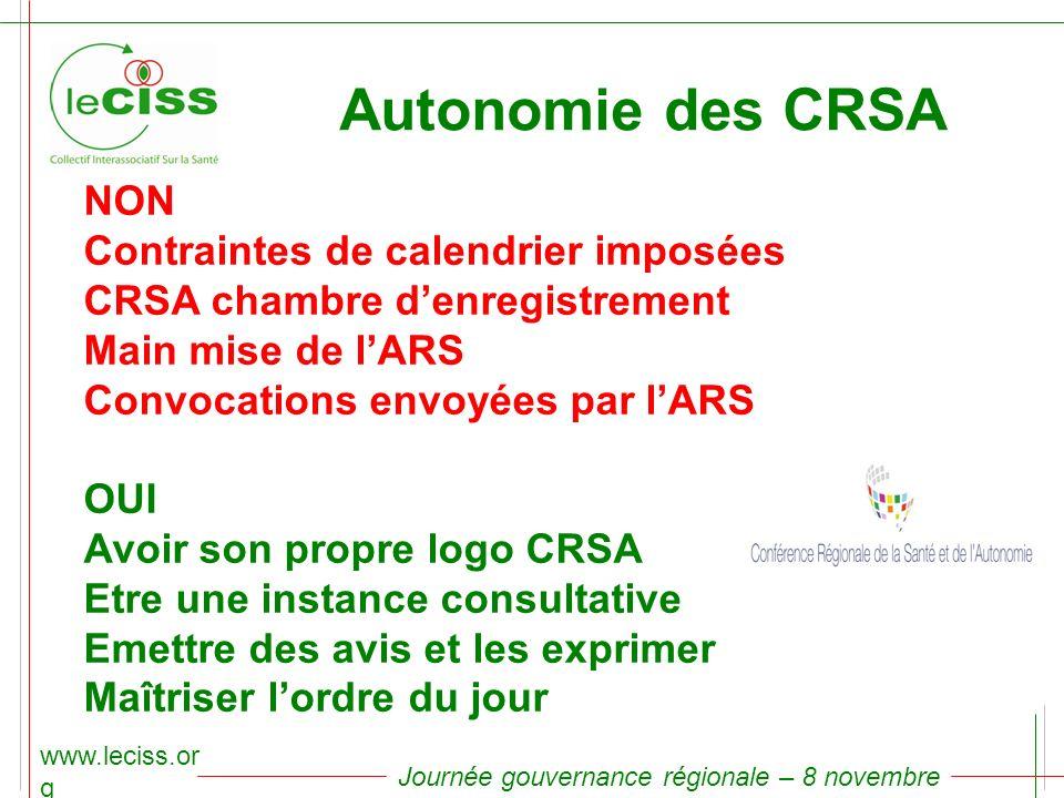 www.leciss.or g Journée gouvernance régionale – 8 novembre 2010 Autonomie des CRSA NON Contraintes de calendrier imposées CRSA chambre denregistrement