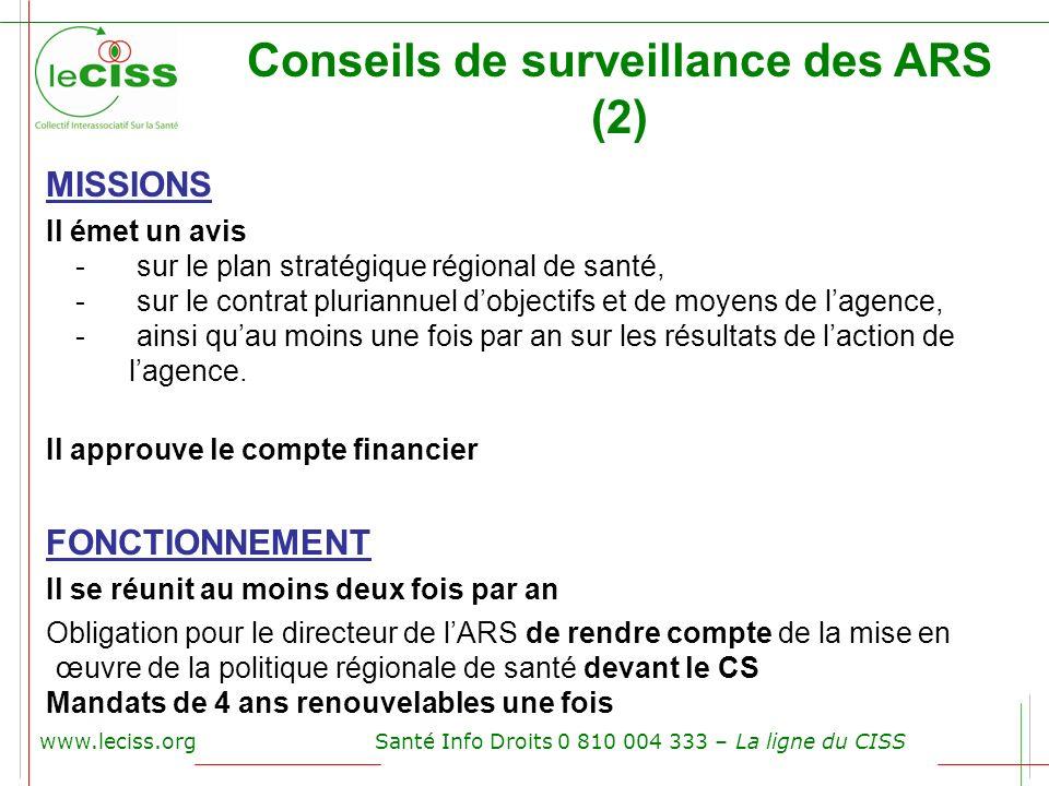 www.leciss.orgSanté Info Droits 0 810 004 333 – La ligne du CISS Conseils de surveillance des ARS (2) MISSIONS Il émet un avis - sur le plan stratégiq