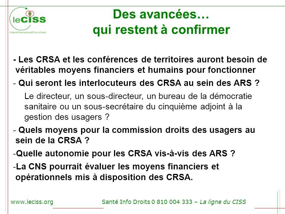 www.leciss.orgSanté Info Droits 0 810 004 333 – La ligne du CISS Des avancées… qui restent à confirmer - Les CRSA et les conférences de territoires au