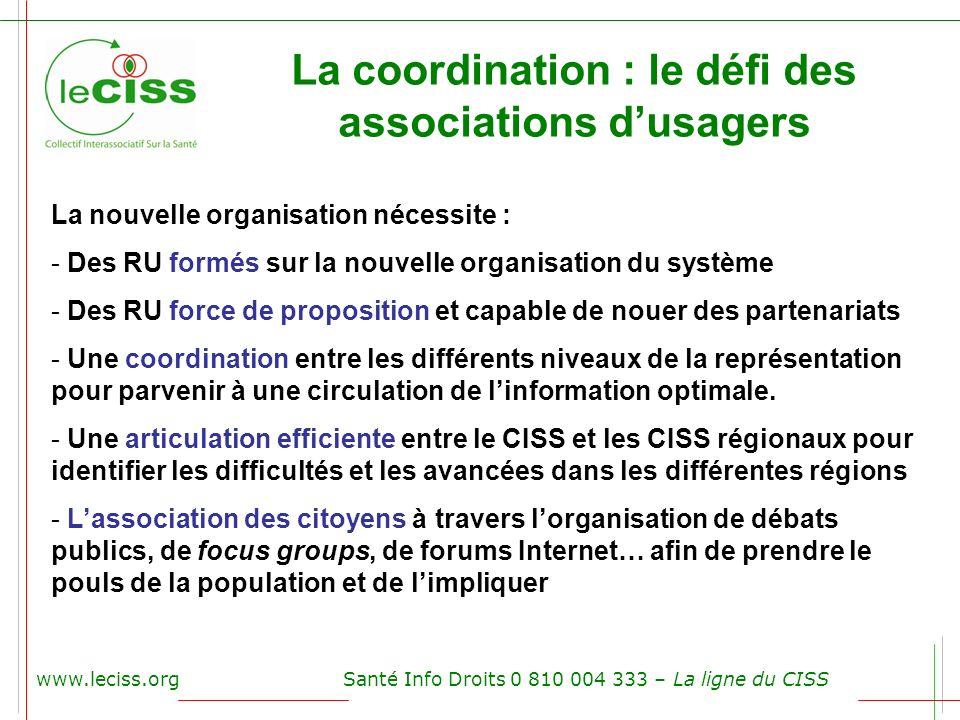 www.leciss.orgSanté Info Droits 0 810 004 333 – La ligne du CISS La coordination : le défi des associations dusagers La nouvelle organisation nécessit