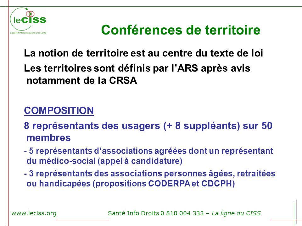 www.leciss.orgSanté Info Droits 0 810 004 333 – La ligne du CISS Conférences de territoire La notion de territoire est au centre du texte de loi Les t