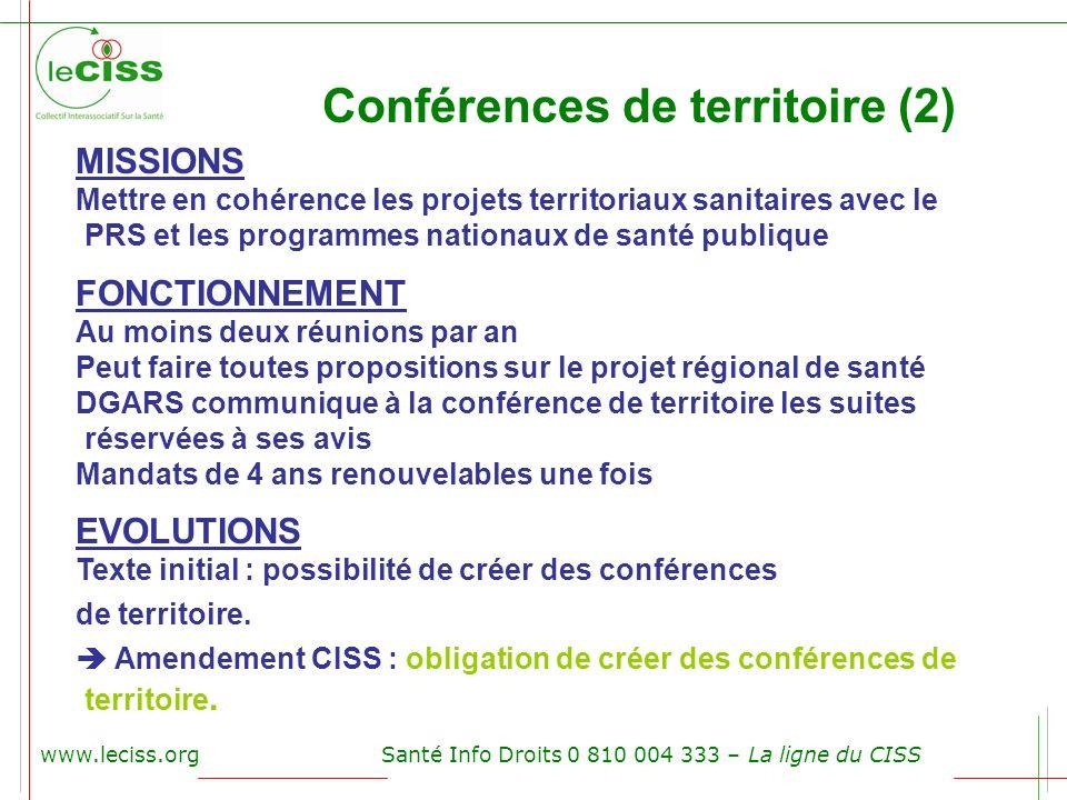 www.leciss.orgSanté Info Droits 0 810 004 333 – La ligne du CISS Conférences de territoire (2) MISSIONS Mettre en cohérence les projets territoriaux s