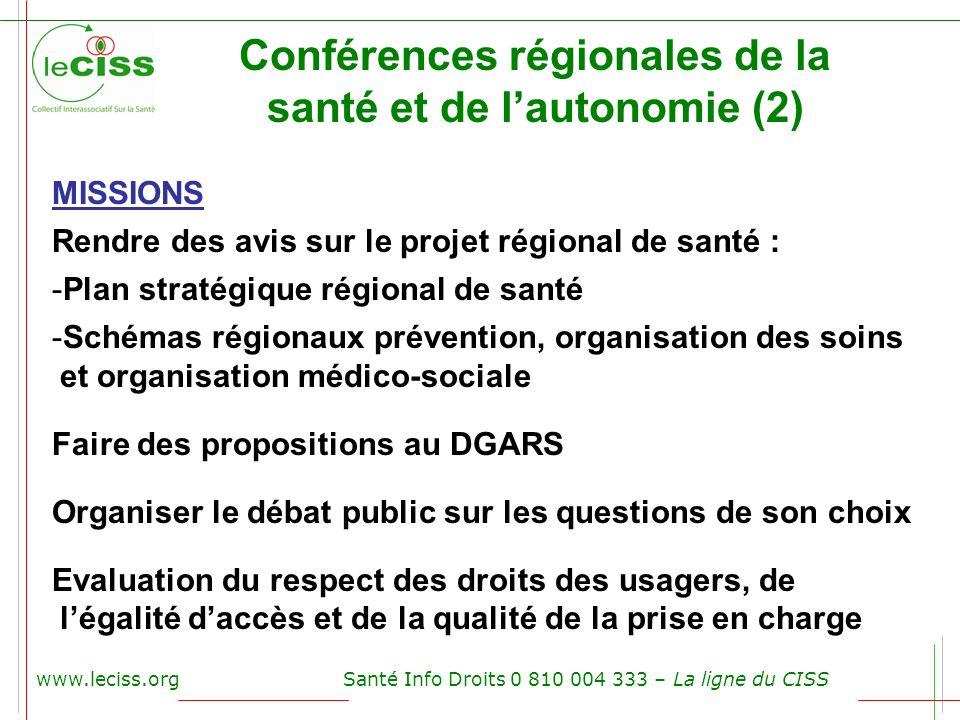 www.leciss.orgSanté Info Droits 0 810 004 333 – La ligne du CISS Conférences régionales de la santé et de lautonomie (2) MISSIONS Rendre des avis sur