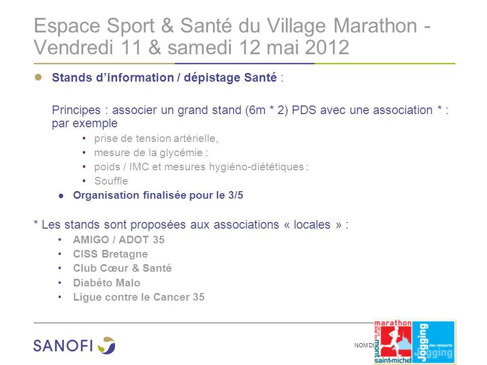 NOM DE LA PRESENTATION | 2 Espace Sport & Santé du Village Marathon - Vendredi 11 & samedi 12 mai 2012 Stands dinformation / dépistage Santé : Princip