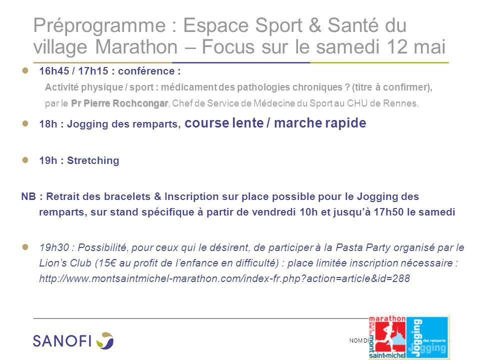 NOM DE LA PRESENTATION | 3 Préprogramme : Espace Sport & Santé du village Marathon – Focus sur le samedi 12 mai 16h45 / 17h15 : conférence : Activité