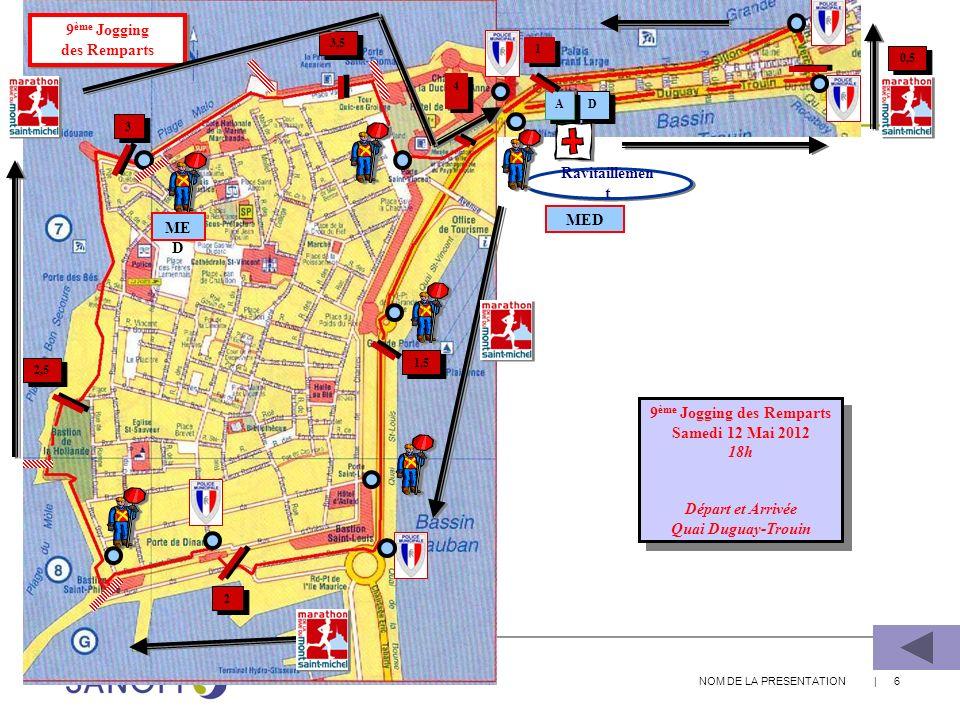 NOM DE LA PRESENTATION | 6 D D A A ME D 1 1 0,5 Ravitaillemen t 9 ème Jogging des Remparts Samedi 12 Mai 2012 18h Départ et Arrivée Quai Duguay-Trouin
