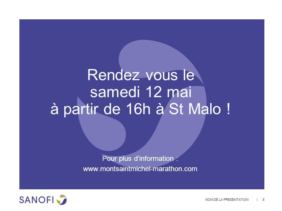 | 8 NOM DE LA PRESENTATION Rendez vous le samedi 12 mai à partir de 16h à St Malo ! Pour plus dinformation : www.montsaintmichel-marathon.com