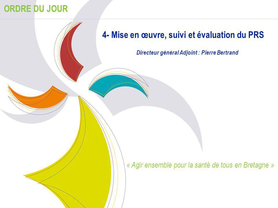 1 ORDRE DU JOUR 4- Mise en œuvre, suivi et évaluation du PRS Directeur général Adjoint : Pierre Bertrand « Agir ensemble pour la santé de tous en Bret