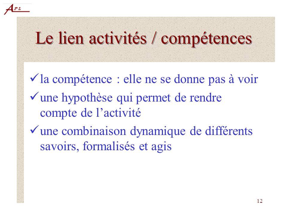 12 Le lien activités / compétences la compétence : elle ne se donne pas à voir une hypothèse qui permet de rendre compte de lactivité une combinaison dynamique de différents savoirs, formalisés et agis