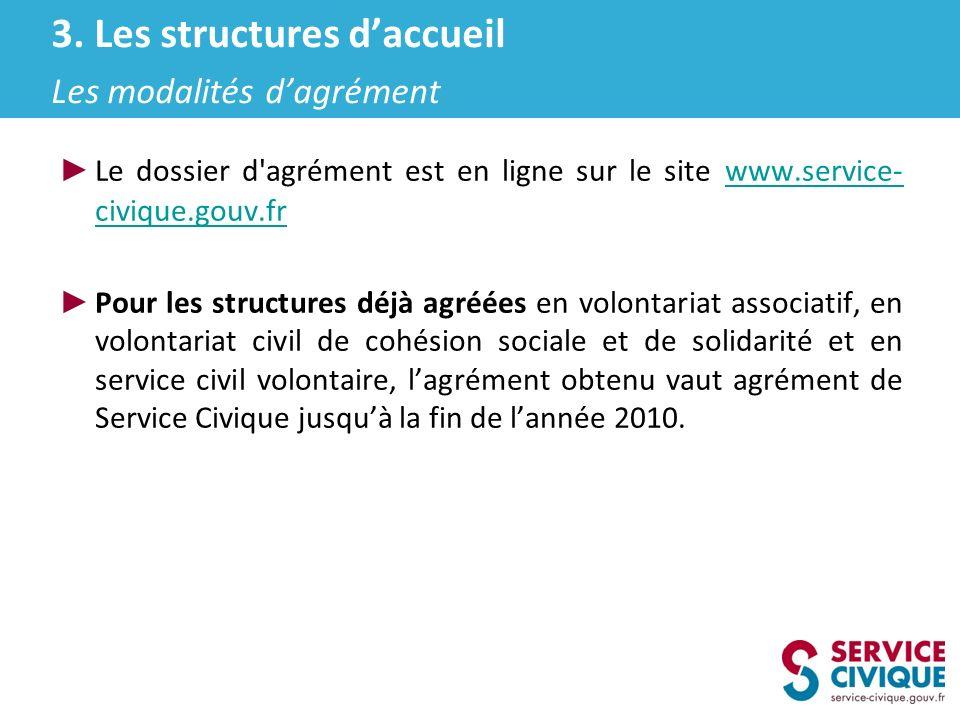 Le dossier d'agrément est en ligne sur le site www.service- civique.gouv.fr www.service- civique.gouv.fr Pour les structures déjà agréées en volontari