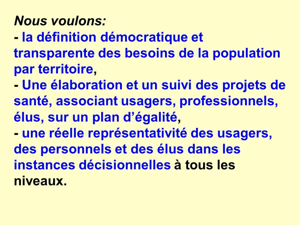 Nous voulons: - la définition démocratique et transparente des besoins de la population par territoire, - Une élaboration et un suivi des projets de s