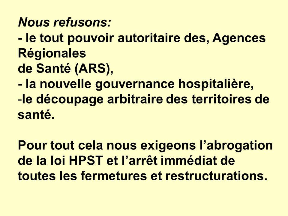 Nous refusons: - le tout pouvoir autoritaire des, Agences Régionales de Santé (ARS), - la nouvelle gouvernance hospitalière, -le découpage arbitraire des territoires de santé.