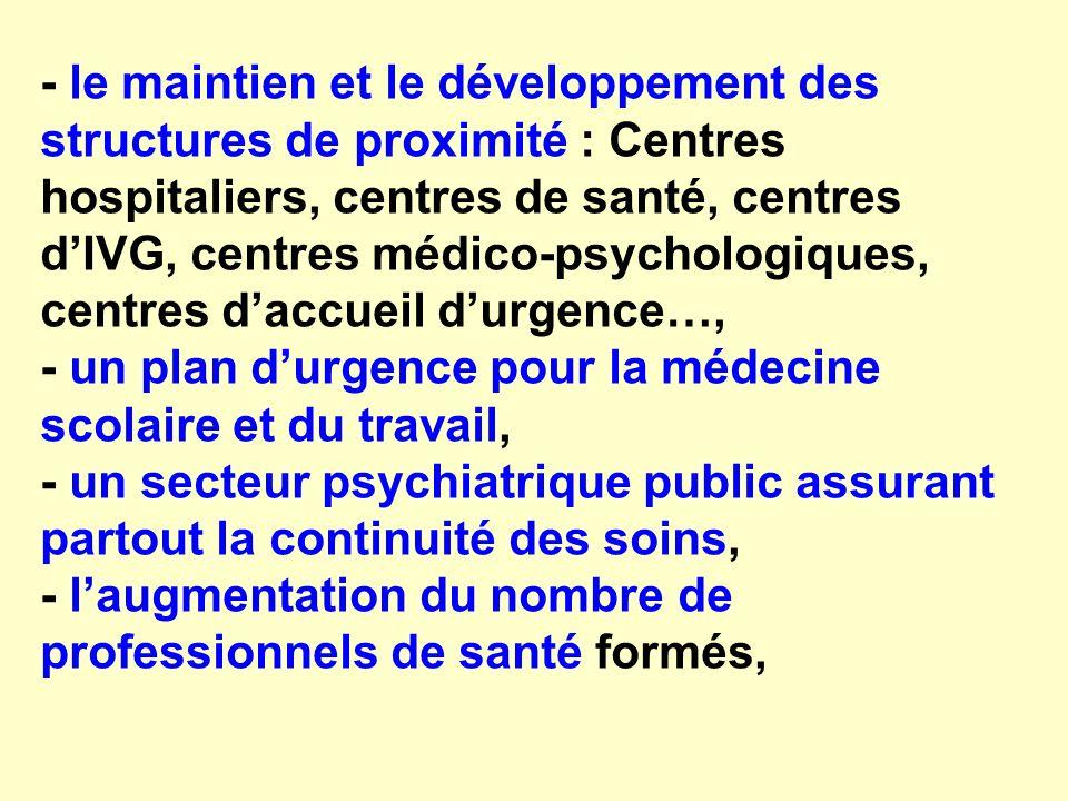 - le maintien et le développement des structures de proximité : Centres hospitaliers, centres de santé, centres dIVG, centres médico-psychologiques, c