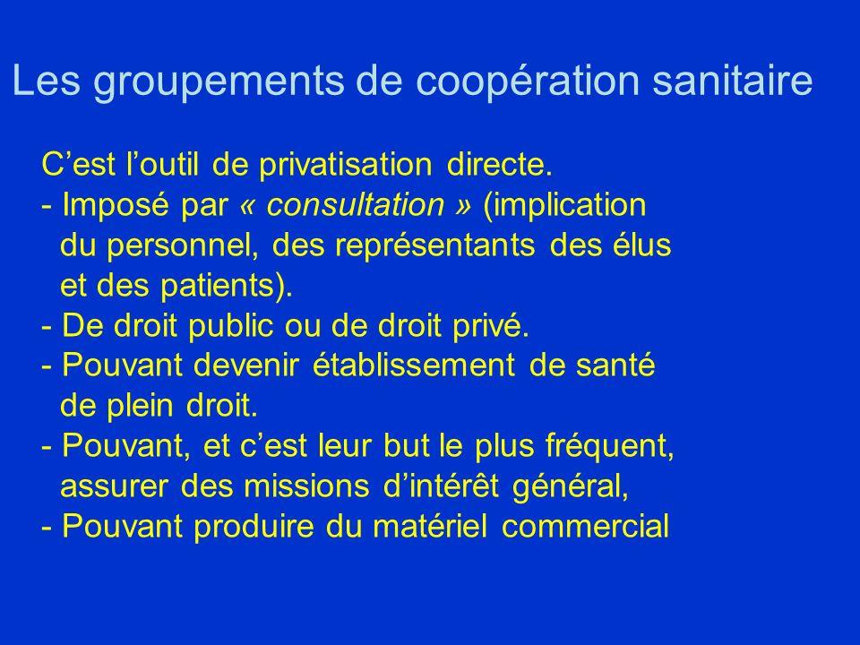 Les groupements de coopération sanitaire Cest loutil de privatisation directe.