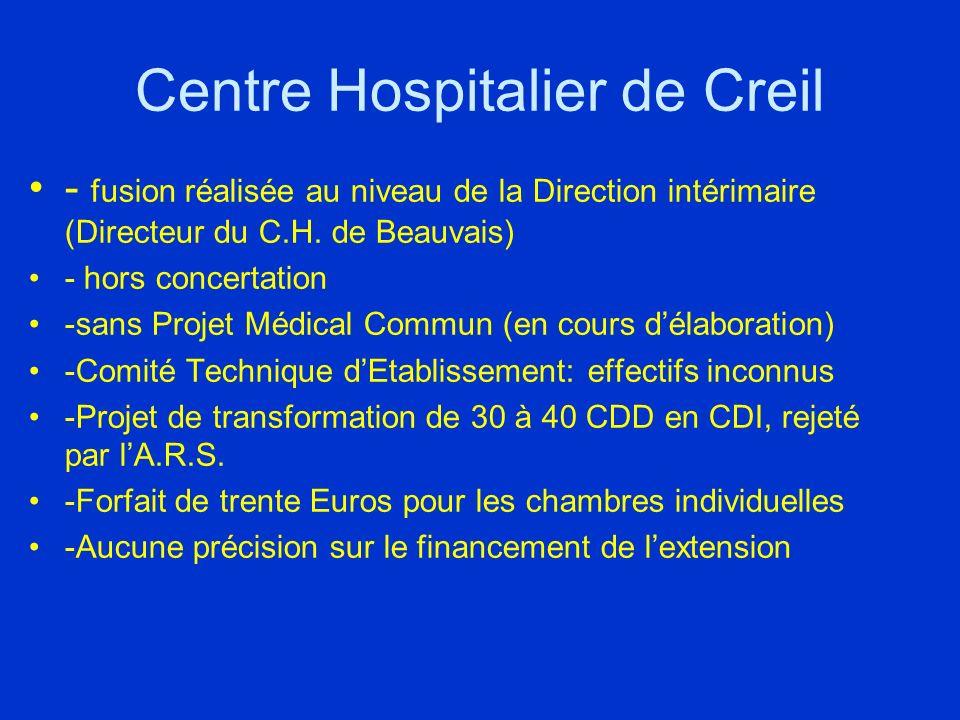 Centre Hospitalier de Creil - fusion réalisée au niveau de la Direction intérimaire (Directeur du C.H.