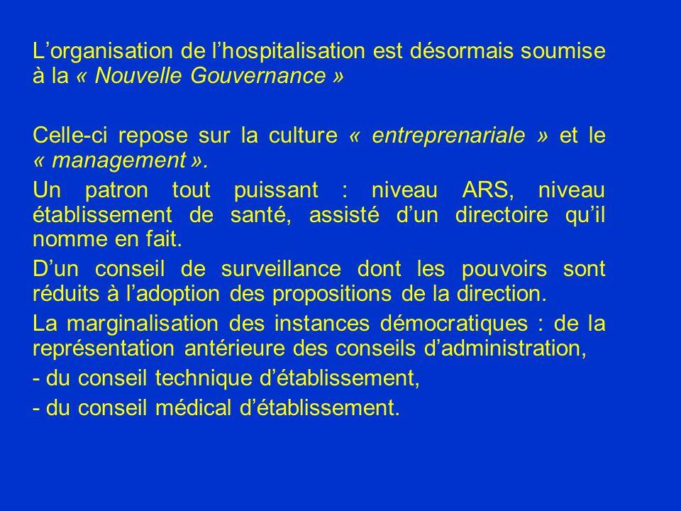 Lorganisation de lhospitalisation est désormais soumise à la « Nouvelle Gouvernance » Celle-ci repose sur la culture « entreprenariale » et le « management ».