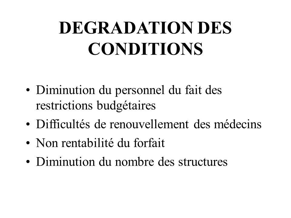 DEGRADATION DES CONDITIONS Diminution du personnel du fait des restrictions budgétaires Difficultés de renouvellement des médecins Non rentabilité du
