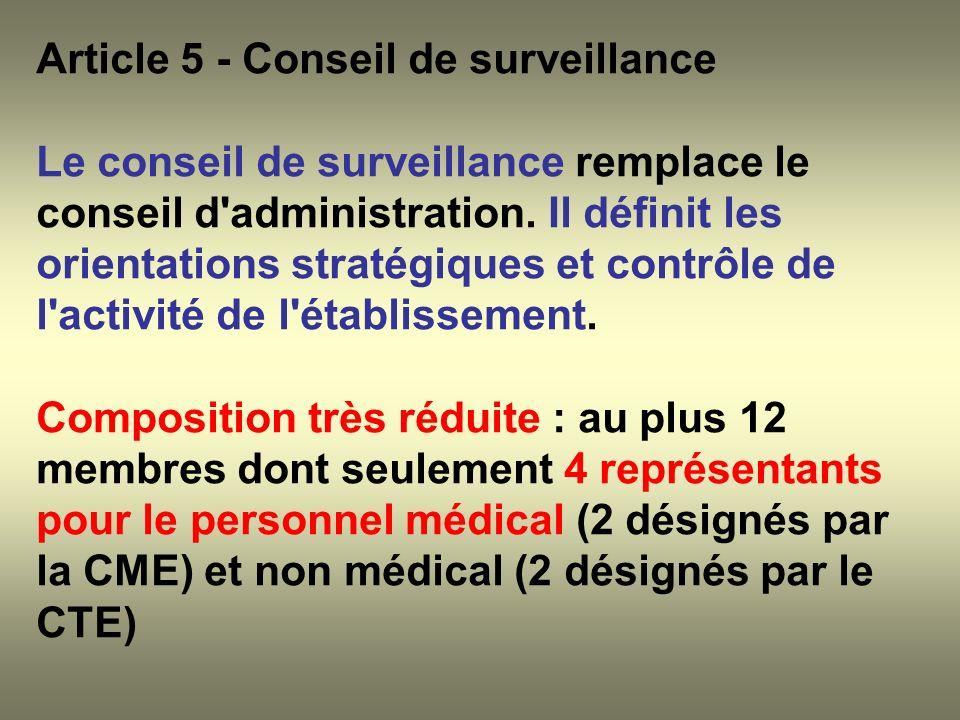 Article 5 - Conseil de surveillance Le conseil de surveillance remplace le conseil d'administration. Il définit les orientations stratégiques et contr
