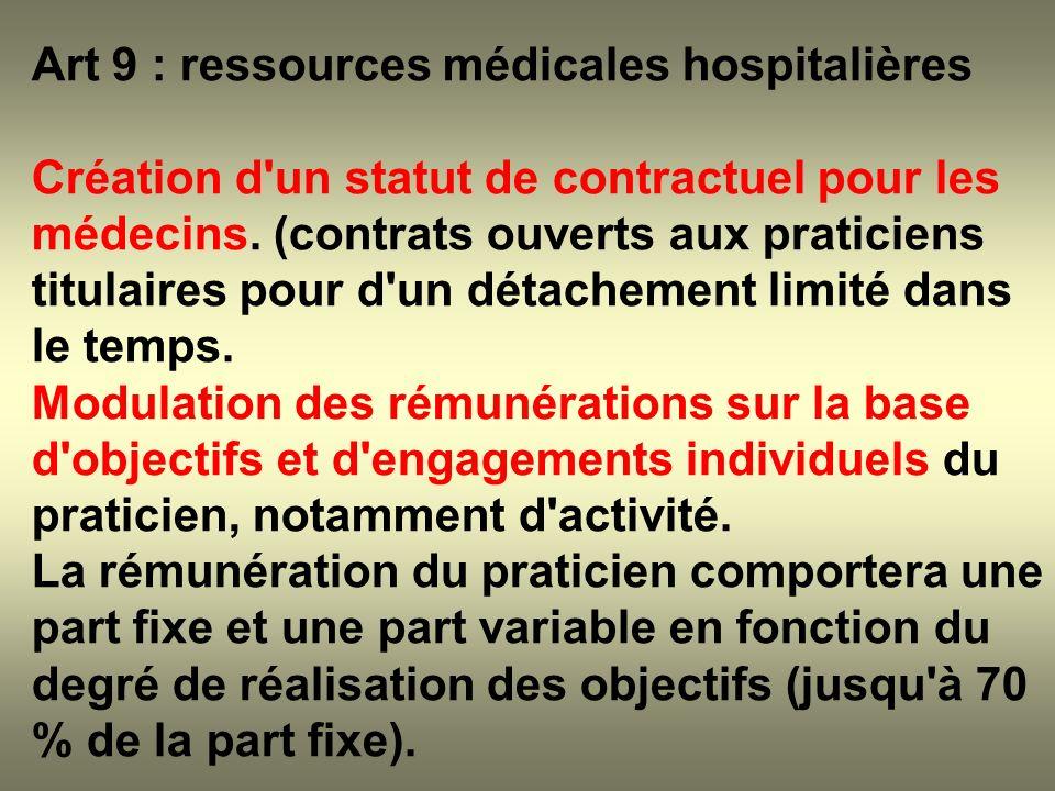 Art 9 : ressources médicales hospitalières Création d'un statut de contractuel pour les médecins. (contrats ouverts aux praticiens titulaires pour d'u