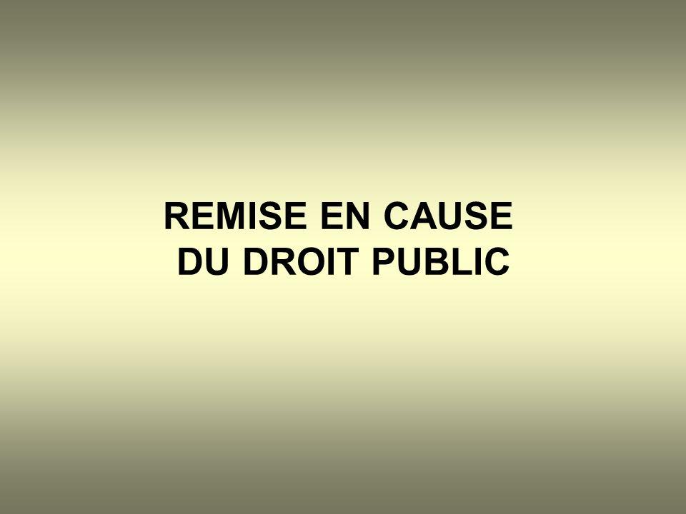 REMISE EN CAUSE DU DROIT PUBLIC