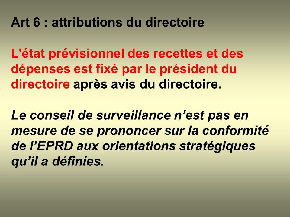 Art 6 : attributions du directoire L'état prévisionnel des recettes et des dépenses est fixé par le président du directoire après avis du directoire.