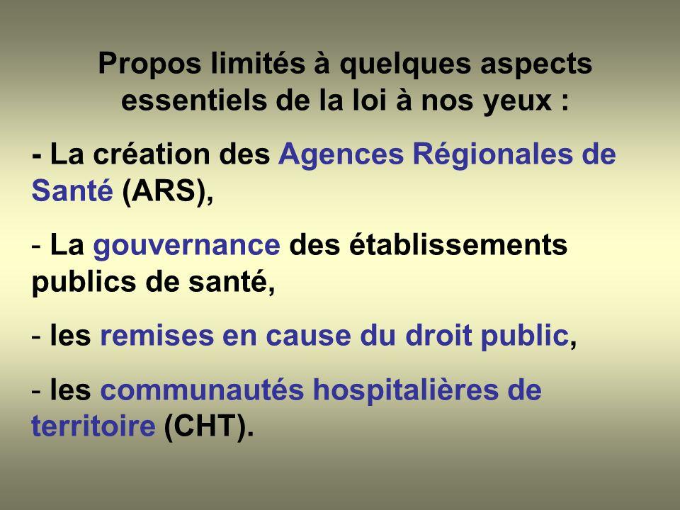 Propos limités à quelques aspects essentiels de la loi à nos yeux : - La création des Agences Régionales de Santé (ARS), - La gouvernance des établiss