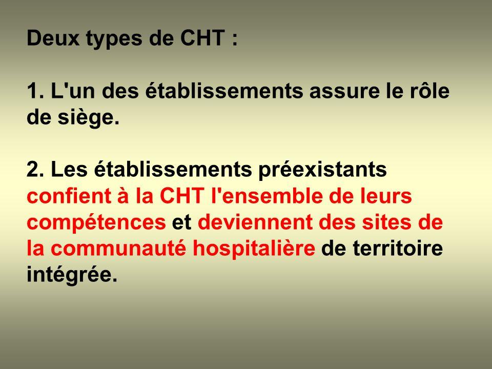 Deux types de CHT : 1. L'un des établissements assure le rôle de siège. 2. Les établissements préexistants confient à la CHT l'ensemble de leurs compé