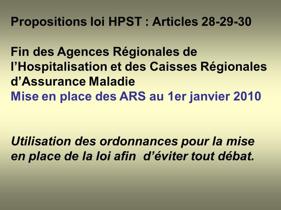 Propositions loi HPST : Articles 28-29-30 Fin des Agences Régionales de lHospitalisation et des Caisses Régionales dAssurance Maladie Mise en place de