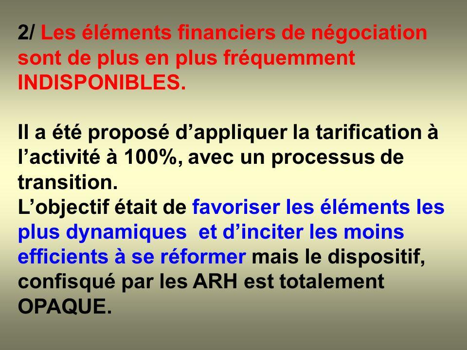 2/ Les éléments financiers de négociation sont de plus en plus fréquemment INDISPONIBLES. Il a été proposé dappliquer la tarification à lactivité à 10