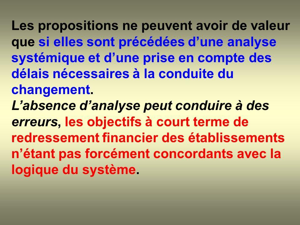 Les propositions ne peuvent avoir de valeur que si elles sont précédées dune analyse systémique et dune prise en compte des délais nécessaires à la co