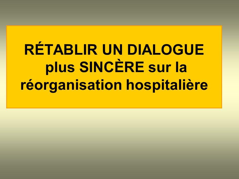RÉTABLIR UN DIALOGUE plus SINCÈRE sur la réorganisation hospitalière