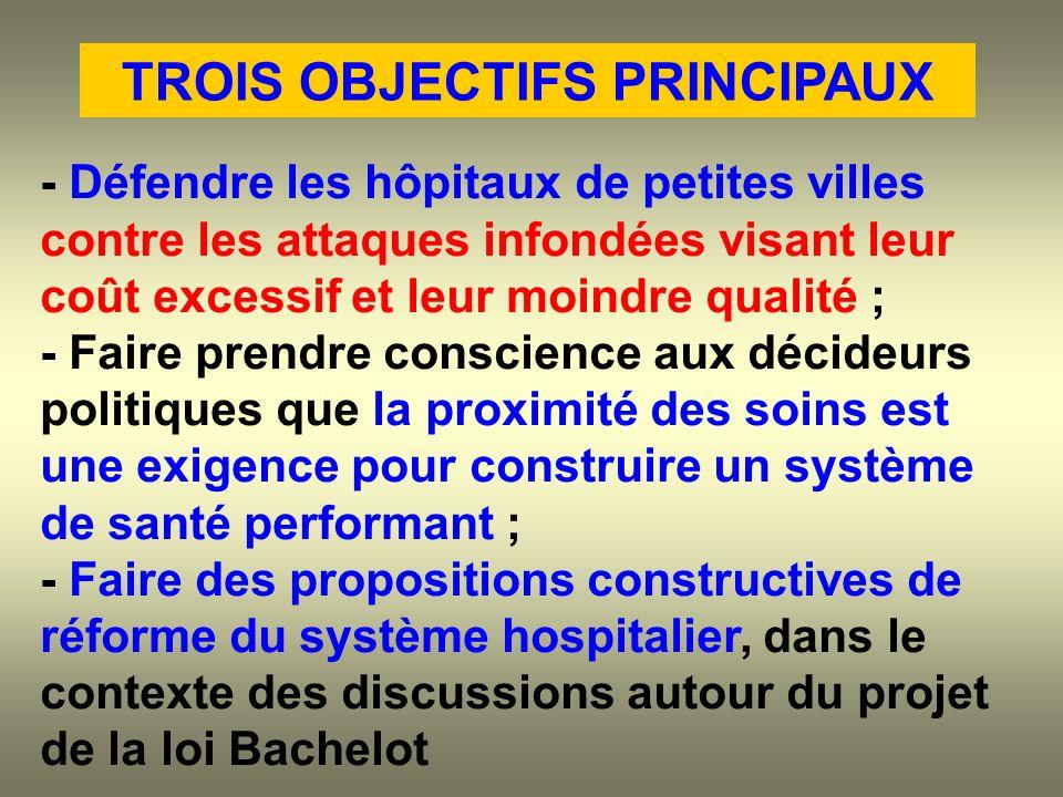 - Défendre les hôpitaux de petites villes contre les attaques infondées visant leur coût excessif et leur moindre qualité ; - Faire prendre conscience