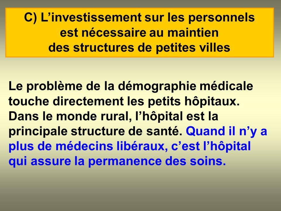 Le problème de la démographie médicale touche directement les petits hôpitaux. Dans le monde rural, lhôpital est la principale structure de santé. Qua