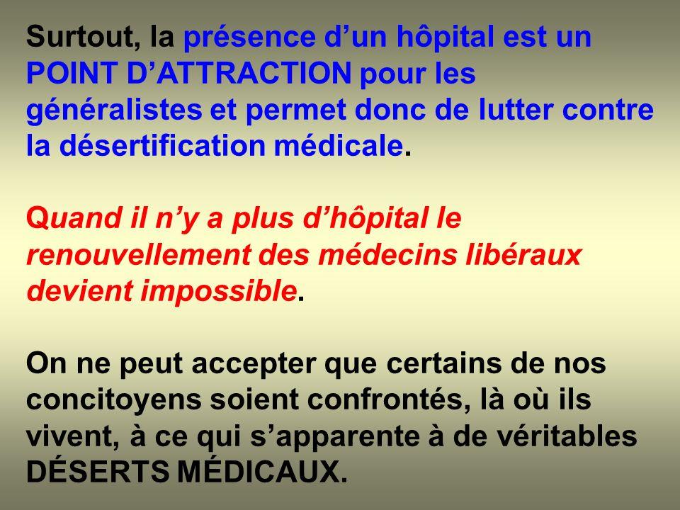 Surtout, la présence dun hôpital est un POINT DATTRACTION pour les généralistes et permet donc de lutter contre la désertification médicale. Quand il