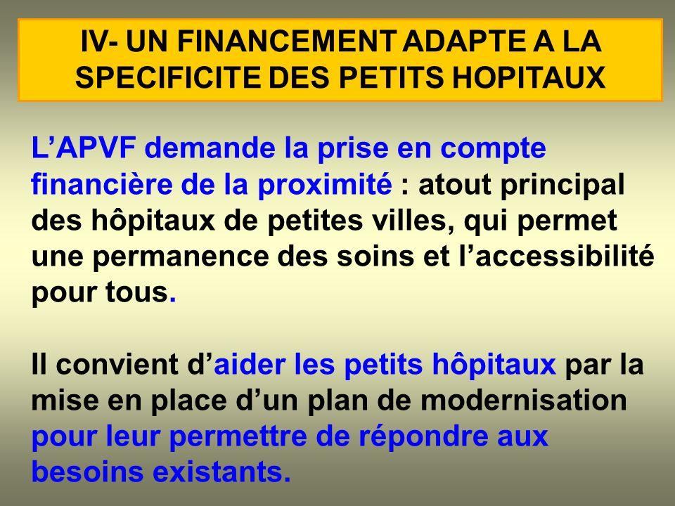 LAPVF demande la prise en compte financière de la proximité : atout principal des hôpitaux de petites villes, qui permet une permanence des soins et l