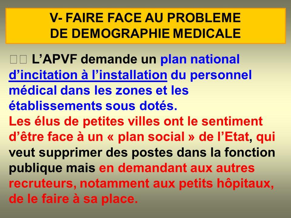 LAPVF demande un plan national dincitation à linstallation du personnel médical dans les zones et les établissements sous dotés. Les élus de petites v